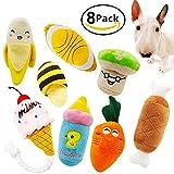 Quietschendes Hundespielzeug, aus Plüsch, Kau-Spielzeug-Set, für kleine oder mittelgroße Hunde und Katzen, 8Stück