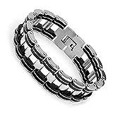 Sevinora® Herren Edelstahl Armband Fahrradkette Motorradkette Panzerkette Schwarz Silber