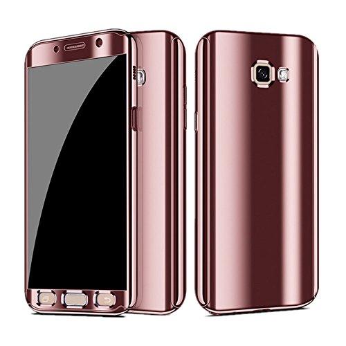 Neivi galaxy s7/s7 edge cover 3 in 1 custodia protettiva per schermo a specchio (oro rosa, galaxy /s7 edge)