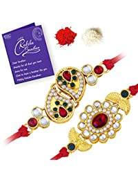 Sukkhi Royal Gold Plated Traditional Rakhi Combo (Set of 2) with Roli Chawal and Raksha Bandhan Greeting Card For Men