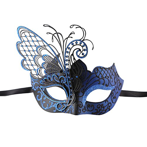 Xvevina Venezianische Maske für Maskenball aus hochwertigem,glänzendem, filigranen Metall, Maskenball, metall, luxury blue/gold, (Ideen Mardi Mask Gras)