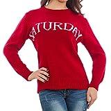 Toocool - Maglione donna maglia pullover giorni settimana lunedì domenica nuova GI-6156 [Taglia unica,rosso]