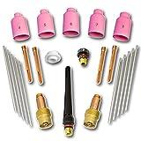STAHLWERK WIG Gaslinsen Schweißzubehör mit Spannhülsen + Keramikdüsen + Wolframelektroden, Verschleißtele für WP-26 WIG-Schweißbrenner, Set 24-teilig