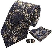 GUSLESON Mens Plaid Tie Striped Dots Necktie and Handkerchief Cufflinks Set
