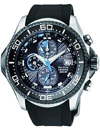 Citizen Men's Eco-Drive Depth Meter Chronograph Metric Rubber Dive Watch #BJ2117-01E