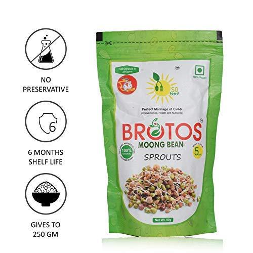 BROTOS Moong Bean Sprouts with Masala Sachet Inside, 80g