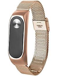 Zolimx Correa Elegante Del Reloj Del Acero Inoxidable Ligero Manera Para Xiaomi Miband 2 (Oro