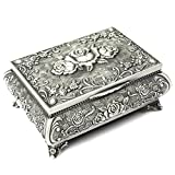 H&S® Metal Antique Ring Necklace Jewellery Trinket Display Storage Vintage Box Case - 3 Rose Top by H and S Alliance UK Ltd
