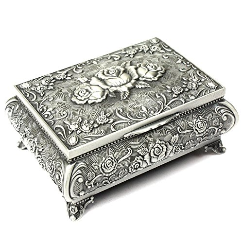 H&S® Metal Antique Ring Necklace Jewellery Trinket Display Storage Vintage Box Case - 3 Rose Top by H and S Alliance UK Ltd (Storage-schmuck-box Ring)
