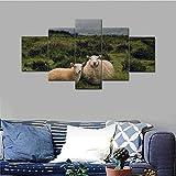 RMRM Canvas Home Decor HD Stampa 5 Pezzi Pecore Pittura Animale Pecore Erba Poster Wall Art Immagine modulare per Comodino Telaio di Fondo con Cornice 40x60cm 40x80cm 40x100cm