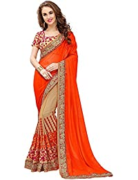 Arawins Women's Party Wear Low Price Sale Offer Orange & Beige Georgette Saree With Banglori Silk Blouse