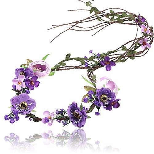 AWAYTR Boho Braut Blume Girlande Stirnband - Frauen Mädchen Einstellbare Baum Rattan Blatt Floral Haar Kranz Hochzeit Fotografie Dekoration...