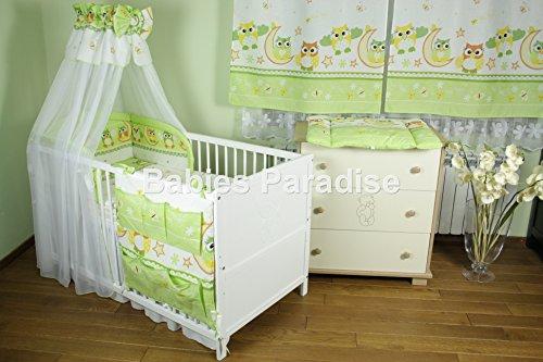 Baby Bettwäsche Set Eule New Design (20 tlg, Grün)