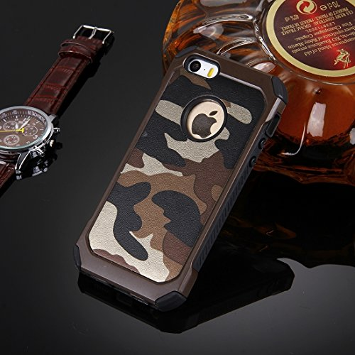 iPhone Case Cover Pour iPhone 5 & 5s & SE Modèle de camouflage Résistant aux chocs Tough Armor PC + Silicone Combination Case ( Color : Dark Blue ) Brown
