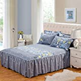 Fitted Sheet with Valance Queen Size 150 x 200cm Non-slip Anti-pilling Bed Skirt Bedspread Twill Romantic Flower Printing Polyester-Cotton Gray