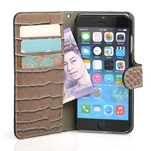 Madcase Apple iPhone SE / 5S / 5 Schutzhülle Ledertasche mit Kartenfach Premium Design Case Tasche Portemonnaie PU Leder Hülle - Orange Krokodil - Erdleitung Grau