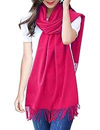 ISASSY Écharpe Châle Cachemire Femme Homme Unisex Chaud Gros Plaid Foulard  Pashmina Uni Pour Automne Hiver 665717198bb