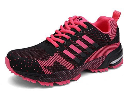 Men's Comfortable Lace Up Athletic Running Shoes Women rose red