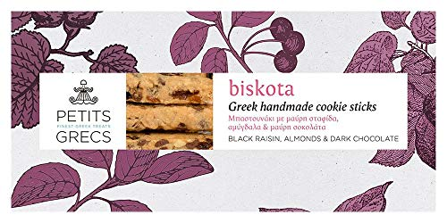 Delicious Handmade Cookie Sticks with Raisins, Almonds and Dark Chocolate by Petits Grecs | Gourmet, Traditional, Vegetarian, Greek Artisan Biscuit Bars in Gift Box | 170g