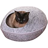 PetPals Smoky Pod Grey Felt Bed With Removable Cover, One Size