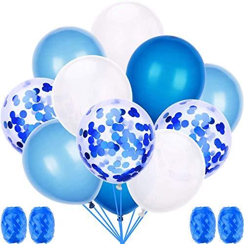 60 Stück Luftballons Blau, Luftballon 12 Zoll für schöne Feiertage und Feste, Baby Shower, die Hochzeit, die zum Geburtstag, Perlglanz, Verdicken 3.2G, 4 Farbe (Und Weiße Blaue Luftballons)