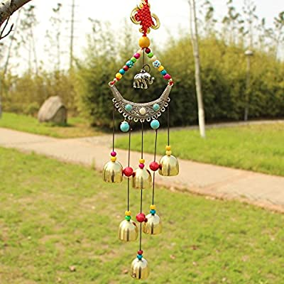Sunfire Chinese Kont Wind Chime Hanging Garden Home Decoration Elephant 23in