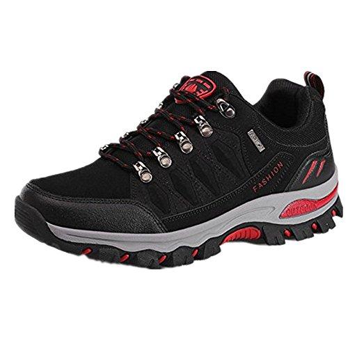 NEOKER Wanderschuhe Trekking Schuhe Herren Damen Sports Outdoor Hiking Sneaker Schwarz 45