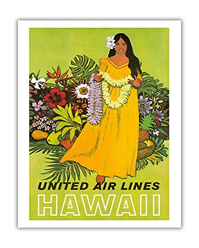 Pacifica Island Art Hawaii, United Air Lines-Lei Mädchen-Vintage Airline Travel Poster von Stan Galli c.1960s-Hawaiian Fine Art Print 11