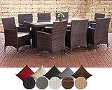 CLP Polyrattan Sitzgruppe AVIGNON BIG | Garten-Set: 1x Tisch und 8 Gartenstühle inkl. Sitzauflagen | In verschiedenen Farben erhältlich Rattanfarbe: Braun-meliert, Bezugfarbe: Cremeweiß