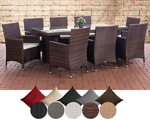 CLP Salon de jardin AVIGNON XL en résine tressée, 8 chaises Julia, table 200 x 90 cm, coussins très confortables, 4 couleurs au choix Couleur de rotin: marron marbré, Revêtement: crème blanc