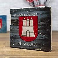 elbPLANKE - Meine Stadt Hamburg - Wood | 10x10 cm | Holzbilder von Fotoart-Hamburg | 100% Handmade aus Holz (Kiefer/Fichte)