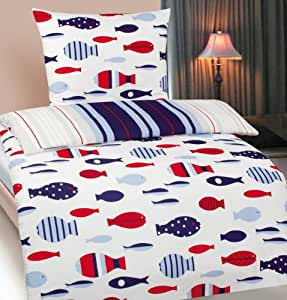 kinder jugend wende bettw sche bergr e 155x220 80x80cm motiv fisch microfaser. Black Bedroom Furniture Sets. Home Design Ideas
