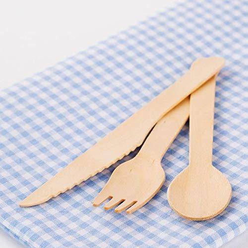 512oFce7OUL - HEYNNA® Einwegbesteck Set umweltfreundlich und plastikfrei, aus Holz 100% biologisch abbaubar Holzbesteck 120 Stück (40 Holzmesser, 40 Holzgabeln, 40 Holzlöffel) - plastikfreie Verpackung