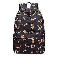 Joymoze Waterproof Retro Colorful Printed Trendy Backpack for Women Cute School Backpack for Girls (Black Fox)