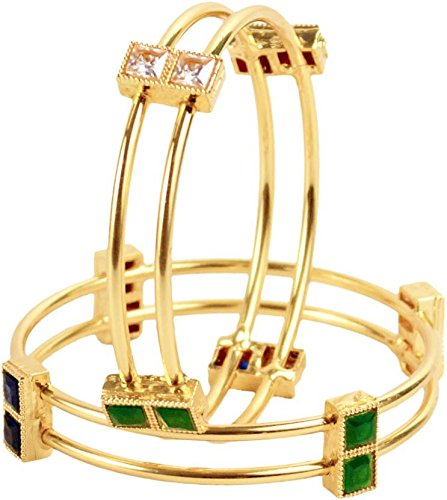 Ratnavali jewels American Diamond Studded Gold Plated Traditional Red ruby Green Emerald Blue Sapphire White CZ/Diamond Bangles for Women/Girls RVK4  available at amazon for Rs.299