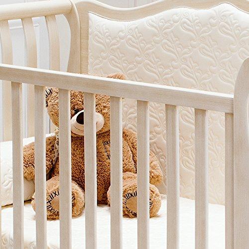 Besonderes Babybett 63×123 | Umbaubett mit gepolsterter Rücklehne Rinascimento antikweiß – erweiterbar zur Couch - 5