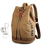 Yoome Drum Canvas Rucksack mit Tunnelzug Rucksack 15 Zoll Laptop Dayback Travel College Sporttaschen Für Jungen Wandern Camping Bergsteigen Weekend Bag - Camel