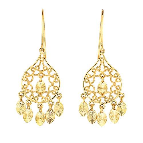 14K Gelb Gold Diamant Schnitt Scheiben Kronleuchter Ohrringe