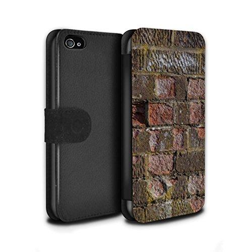 Stuff4 Coque/Etui/Housse Cuir PU Case/Cover pour Apple iPhone 4/4S / Peints/Gris Design / Maçonnerie Collection Érodé