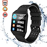 CatShin Fitness Tracker Fitnessuhr CS04 IP68 Fitness socken SmartWatch Wasserdicht sockenuhr Activity Tracker für Damen Herren Kinder Schrittzähler Blutdruck Pulsmesser Hat Kalorienzähler-Schwarz