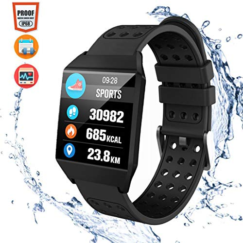CatShin Fitness Tracker Fitnessuhr CS04 IP68 Fitness Armband SmartWatch Wasserdicht Armbanduhr Activity Tracker für Damen Herren Kinder Schrittzähler Blutdruck Pulsmesser Hat Kalorienzähler-Schwarz