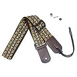 COOME puro cotone Tracolla Ukulele regolabile con estremità in cuoio con Cinghia perni bottone per bambini (Giallo)