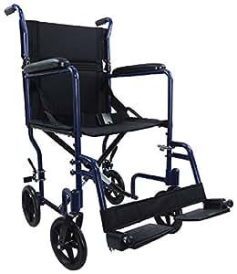 Aluminium Compact Transport Wheelchair - Blue
