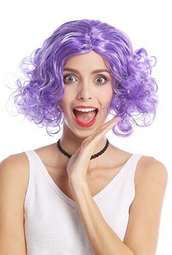 (Wig me up 90896-ZA08 Perücke Damen Karneval Halloween Kurz Longbob lockig Glatter Mittelscheitel Stirnband Lila 80er Jahre Tennis Diva)