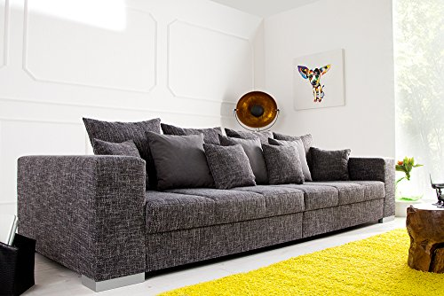 Design XXL Sofa BIG SOFA ISLAND in grau charcoal Strukturstoff inkl. Kissen - 2