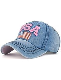 3c77d6b06632d9 ZycShang Men Women Baseball Caps, USA Denim Rhinestone Snapback Hip Hop  Flat Hat
