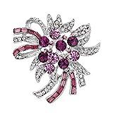 HIDOUYAL Muttertagsgeschenke Brosche Feuerwerk Metall Strasssteine Rosa 4,9x5cm