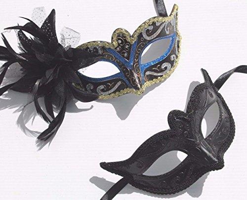 Sein u. ihrs Zwei Paar Schwarz u. Schwarz Blau und Gold Venezianische Maskerade Partei Karneval Kugel ()