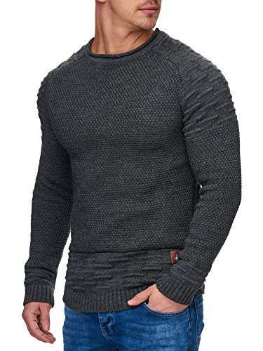 TAZZIO Herren Styler Strick-Pullover 16479 Anthrazit L