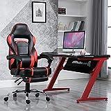Samincom Gaming Chair Silla de Escritorio giratoria de Estilo de Oficina con reposapiés Acolchado, PU W51 x D51 x H118-128CM